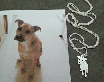 Custom Dog Necklace, Your Pet TaGette Pendant, Sterling Silver silhouette Memory Jewelry Keepsake Memorial Gift