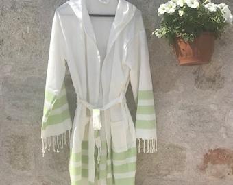 NATURAL Turkish towel robe,  Wedding, Ecofriendly, SPA, Turkish Cotton, Bathrobe for Her,  beach cover,  robe, beach wedding, green