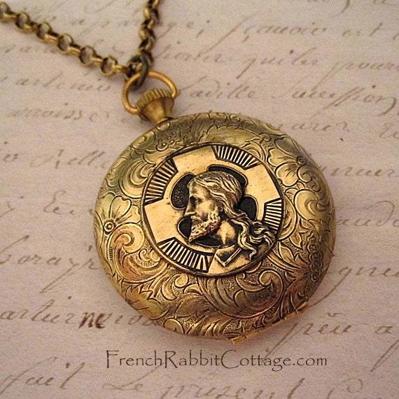JESUS and CROSS LOCKET Necklace Christian Religious Jewelry