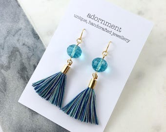 Crystal tassel earrings with gold plated findings in turquoise and blue