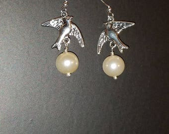 Lovely Dove with Pearl Dangle