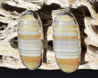 Yellow Banded Agate Oval Posts
