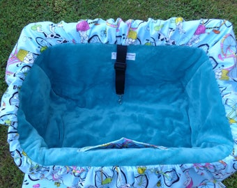 """Pet Shopping Cart Cover in Seafoam color""""Doggies Out for a Ride"""" Ready to Ship"""