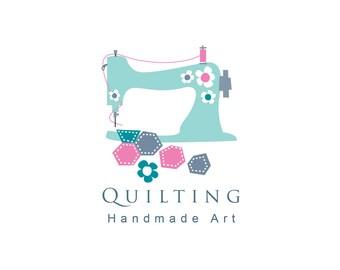 Quilting logo, sewing logo, instant logo download, logo design, marketing, branding, corporate identity, budget logo.