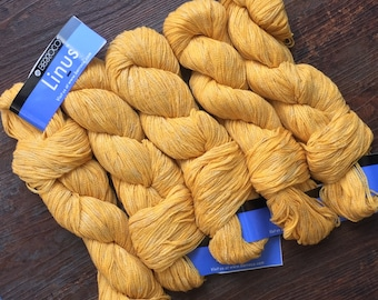 Berroco LINUS Cool Drapey Linen Blend Yarn +Free Linus & Kestrel Patterns - 8.50 +1.50ea to Ship 159yds - Cuckoo 6812 Gold MSRP 10.50