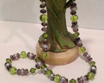 Green Swarovski Crystal and Smokey Quartz Necklace