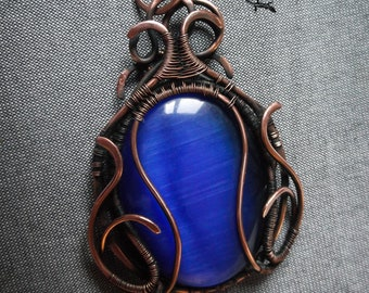 Mystical pendant  Wire wrapped copper pendant Blue stone necklace Mystical blue Witchy necklace Wicca