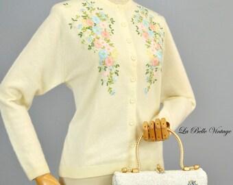 Midas Of Miami Wicker Purse Vintage Beaded White Floral Rhinestone Applique Handbag