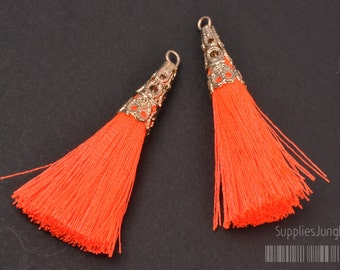 T003-02-G-NO// Gold Plated Cone Neon Orange 45mm Tassel Pendant, 4pcs