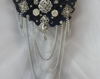 Navy Blue Brooch Bouquet, Custom Wedding Brooch Bouquet, Deposit Only, Full Price 275.00 and up