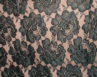 Black Beaded Lace Fabric