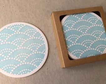 Letterpress aqua Japanese motif coaster set (#CST002)
