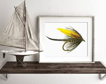 watercolor print, Watercolor fishing fly, fishing fly painting, fly fishing print