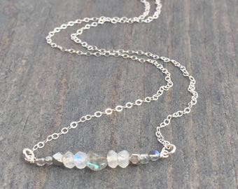 Gemstone Bar Necklace - Silver Layering Necklace - Moonstone Necklace - Silver Bar Necklace - Delicate Silver Necklace - Simple Necklace