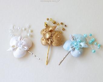 One seashell bobby pin. Beach wedding hair accessories. Nautical wedding headpiece. Mermaid bobby pin