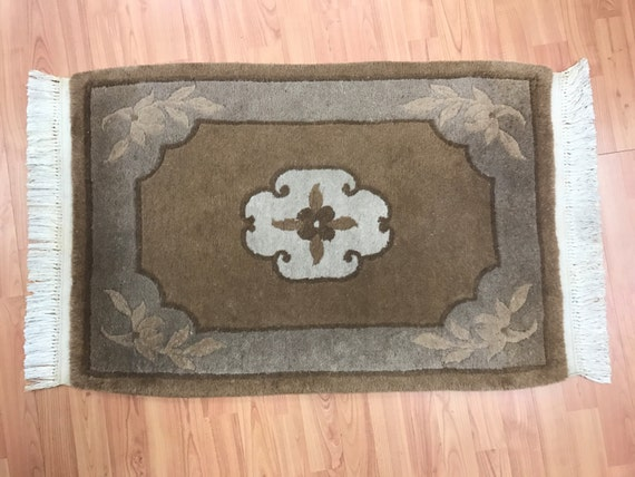 """2'1"""" x 3'1"""" Chinese Aubusson Oriental Rug - Full Pile - Hand Made - 100% Wool"""