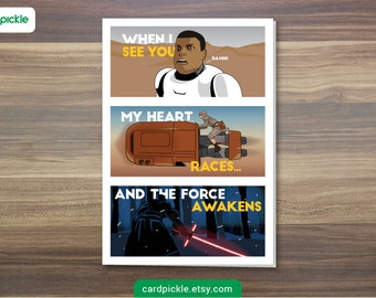 DOWNLOAD Printable Card - I Love You Card - Star Wars Card - The Force Awakens - Episode 7 - Happy Birthday - Anniversary - Valentines Card
