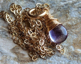 Amethyst smooth briolette necklace - February birthstone - gold filled wire wrapped handmade jewelry