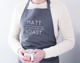 Personalised 'Host With The Roast' Slogan Apron - Sunday Roast Apron - Personalised Apron - Denim Cooking Apron - Kitchen Apron - Long Apron