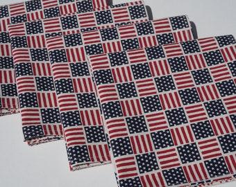 Patriotic Cloth Napkins, American Flag Napkins, Red and Blue, July 4th Napkins, Large Napkins, Set of 4, USA Napkins, American Flag, Stars