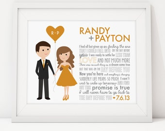 Song Lyric Art or Wedding Vow Keepsake Wall Art Simple Caricatures Print - Gift for Paper Anniversary, Wedding, Valentine's Day, Newlyweds