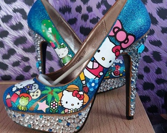 New Ladies Hello Kitty high heel shoes size UK 6/39 Sanrio blue