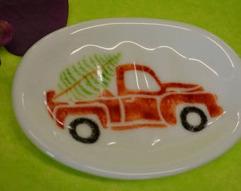 Vintage Red Truck Soap Dish, Fused Glass, Sponge Holder, Spoon Rest, Old Red Truck, Vintage Christmas Decor, Christmas Soap Dish