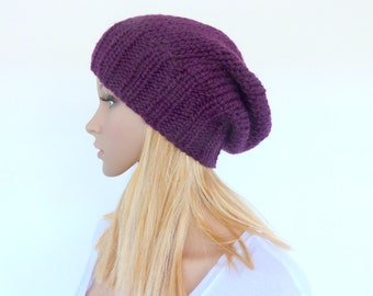 Purple knit hat Purple slouch beanie  Burgundy slouch hat Womens knit hat Mens