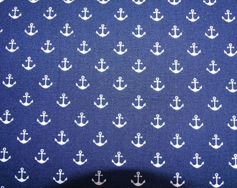 """Printed cotton fabric """"Navy"""" pattern with little anchors on Navy fondbleu designs"""