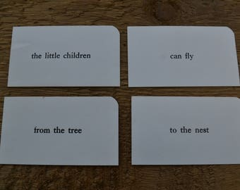 Vintage Sight Phrase Flash Cards Vocabulary - Lot of 4