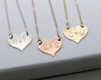 SALE, Initial Necklace, Heart Necklace, Personalized Heart Necklace, Sterling Silver Gold Rose Gold Heart Necklace, Monogram Necklace