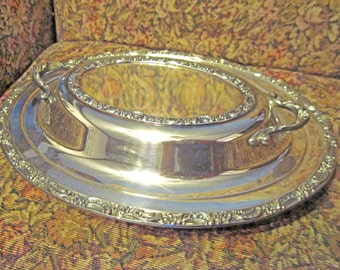 Vintage Newport Silver Plate Oval Covered Serving Dish, Floral detail, Wedding Buffet Dish, Holiday Server YB109