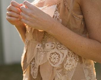 Festival blouse, Silk Boho blouse, Woodland cami, vintage lace cami, gypsy camisole, caramel layered cami, caramel singlet