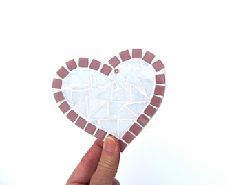 Heart Coasters, set of 2 coasters, valentines gift, house warming gift, drink coaster, mosaic coasters