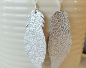 Silver Leather Earrings/Feather