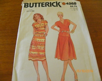 Vintage Butterick 4268 Sewing Pattern Misses' Dress, Top, and Skirt, Size 6 - 8 - 10