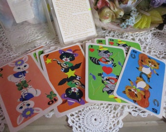 Vintage Childrens Playing Cards-Animal Hearts-Whitman-Kitten-Bunny-Old Stock-Unused