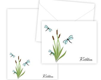Personalized Stationery Set - Personalized Folded Note Cards & Notepad - Dragonflies and Cattails - Set of 10 Cards + Notepad