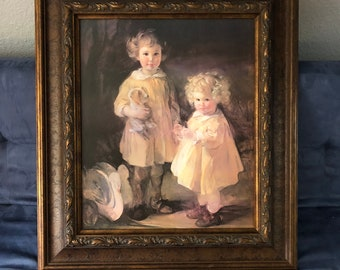 Vintage-Oil Painting- 2 Little Sisters-Framed-Signed-Dresses-Girls-Wall Decor-Wall Hanging-Home Decor-Picture