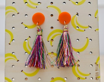 Boho babe earring, tassel earring, tassel dangle, boho earrings, bright earrings