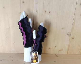 Black, purple and pink, hand/arm warmers, fingerless gloves in soft, cosy, reclaimed natural Scottish woollen fabrics.
