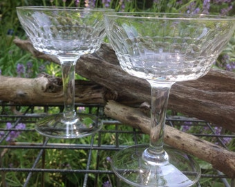 Antique Cut Crystal Champagne Coupes or Sorbets - set of 2