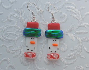 Snowman Earrings - Dichroic Fused Glass Earrings - Frosty Earrings - Christmas Ornament - Christmas Earrings - Christmas Jewelry X1127