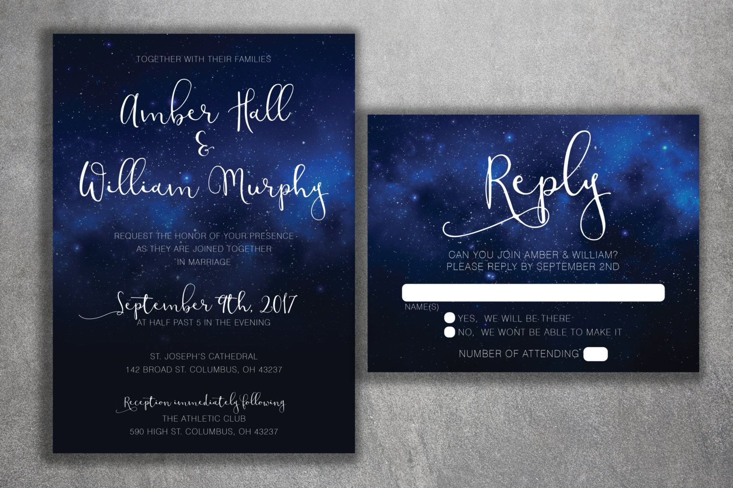 Stars Wedding Invitations Set Printed   Starry Night, Classy, Sky Wedding  Invitations, Stars, Summer, Blue And White, Elegant, Dream,