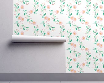 Watercolor Floral Wallpaper - Berry Blossom by Indy Bloom Design - Custom Printed Removable Self Adhesive Wallpaper Roll by Spoonflower