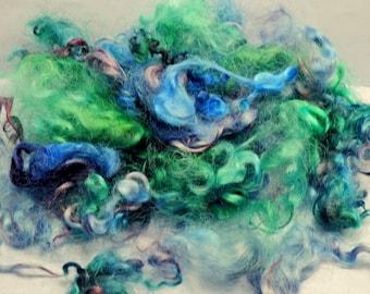 Cotswold Wool Locks Spinning Needle Felting Curly Doll Hair 1 oz Blue Green Plum