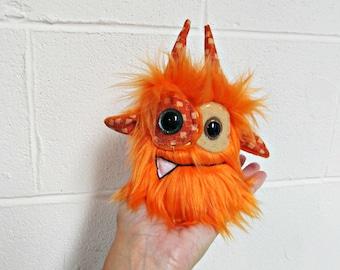 Monster Plush - Handmade Minor Monster Plushie - Orange Faux Fur - OOAK Mini Monster - Small Monster Plush - Small Weird Monster Plush Toy