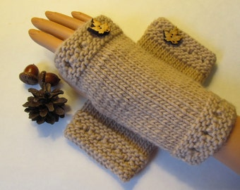 Alpaca Blend Fingerless Mittens, Handwarmers, Hand Warmers, Gloves, Maple Color, Wood Maple Leaf Buttons, Handmade