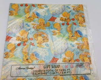American Greetings Baby Boy Gift Wrap 1976  Baby Shower Scrapbooking