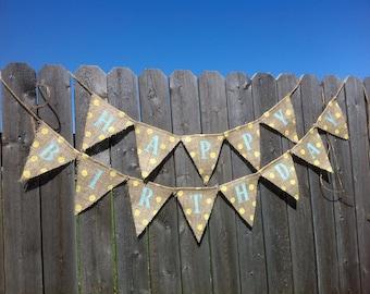 Mini Yellow and Blue Happy Birthday Burlap Banner / Bunting